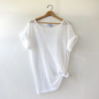 20% OFF SALE vintage cut out mesh shirt. oversized tshirt with holes. minimalist sheer tee. white open knit top.