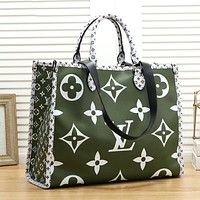 LV Louis Vuitton Popular Women Shopping Bag Leather Tote Handbag Satchel Bag Green