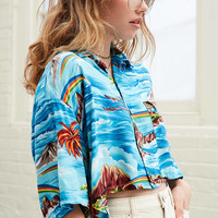 Urban Renewal Recycled Tropical Cropped Button-Down Shirt   Urban Outfitters