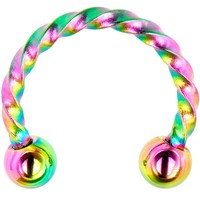 """16 Gauge 5/16"""" Rainbow IP Seriously Twisted Horseshoe Curved Barbell"""