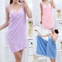 Home Textile TowelWomen Robes Bath Wearable Towel Dress Girls Women