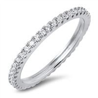 Eternity White CZ Cute Ring New .925 Sterling Silver Stackable Band Sizes 4-10