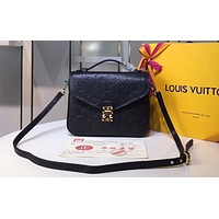 LV fashionable lady embossed square shoulder bag sells well High quality Black