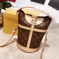 LV Louis vuitton fashion hot lady print patchwork leather cross bucket bag High quality