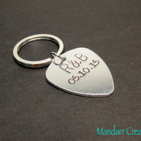 Custom Initial and Anniversary Date Keychain, Aluminum Guitar Pick, Fully Personalized for Couples