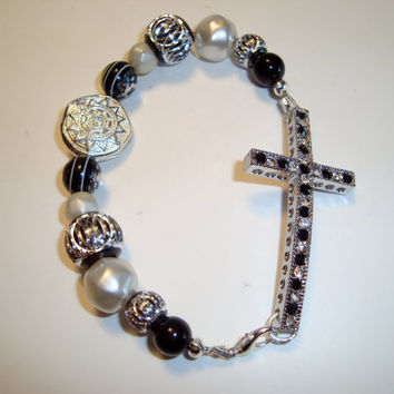 Two Inch Black Rhinestone Cross Bracelets  Black Cubic Zirconias - Band with Pearls - Silver and Black Beads - Rhinestone Beads - Handmade