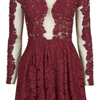 **EMBELLISHED APPLIQUE LACE DRESS BY OPULENCE