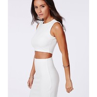 Missguided - Polly Ribbed Two Piece Bodycon Dress Cream