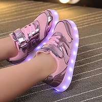 Fashion Bright Solid USB Led Light Up Kid Shoes Breathable Hook &Loop Children Charging Luminous Sneakers For Girl And Boy 26-37