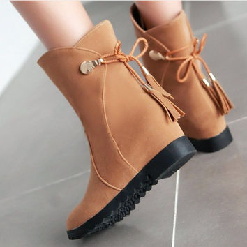 Ankle Boots with Back Tassel Suede Women Shoes