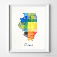 Illinois Watercolor Map Wall Art Home Decor Poster Artwork Gift Print UNFRAMED by Inkist Prints