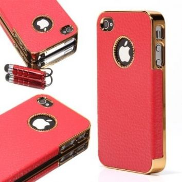ATC Masione(TM) Gold Edge Chrome Vintage Leather Protective Case Cover for Apple iPhone 4 with Free Screen Protector & Stylus Pen (iPhone 4/4s, Red)