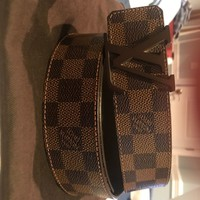 "Louis Vuitton logo Brown Damier Belt size 30"" to 38"""