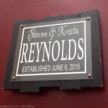 Personalized Family Sign Family Name Sign With Plaque & Bronze Mounts Family Established Sign Rustic Wood Sign