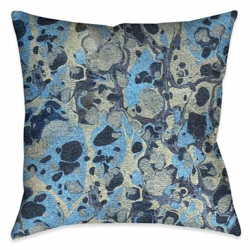 Silver Blue Marble Outdoor Decorative Pillow