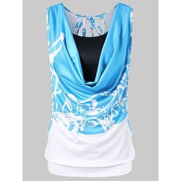 Music Note Printing Women Tank Top with Camisole 4192
