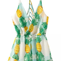 Pineapple Printed Summer Romper