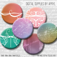 Pastel Grunge Digital Collage Sheet 18mm 16mm 14mm 12mm Circle Round on both 4x6 and 8.5x11 Sheets for Earrings Pendants Cuff Links Image
