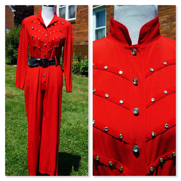 Red Hot Jumpsuit, Rhinestone Sparkle, 80s, Removable Shoulder Pads, Sgt. Pepper, PG Collections by Ginger Bort, Medium