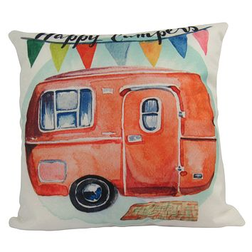 Happy Camper | Orange | Pillow Cover | Camper Decorations | Throw Pillow | Vintage Camper | Camper Gifts | Camper Decor | Gift Ideas