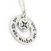 "Hot Wanderlust handstampe Jewelry Travelers Necklace Wanderlust "" Not All Who Wander Are Lost"" Inspirational Jewelry"
