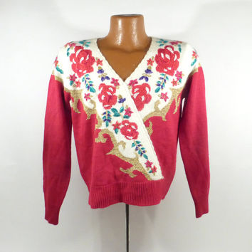 Embroidered Sweater Vintage Holiday Christmas Party Tacky Women's size M