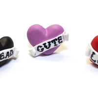 Tattoo Heart with banner Ring ( adjustable) 3 styles: Love Dead Cute