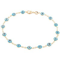 Gold Overlay with Light Blue Mini Evil Eye Style 10 Inch Anklet