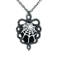 Spider Web Cameo Necklace With Thorn Vine Base