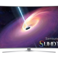 """Samsung - 55"""" Class (54.6"""" Diag.) - LED - Curved - 2160p - Smart - 3D - 4K Ultra HD TV - Silver"""