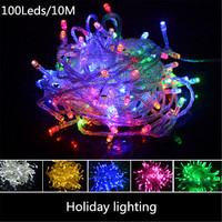 10M Waterproof  100Leds String Lights  220V 110V Fairy Lights Christmas Lights For Holiday Christmas  Wedding  Decoration Light