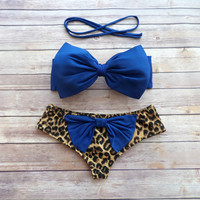 Amazing Bow Bikini Swimwear with Brazilian Style Bottoms and Cute Bow on Butt in Blue and Leopard Print