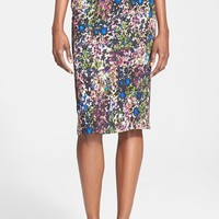 Women's Tracy Reese Floral Print Stretch Crepe Pencil Skirt,