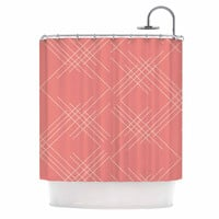 """Famenxt """"All A Blaze Abstract"""" Coral Beige Illustration Shower Curtain"""