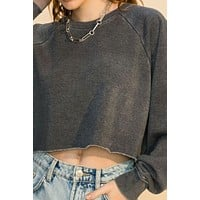 raglan crop sweater - black