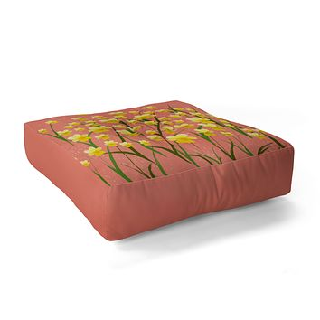 Joy Laforme Pansies in Gold and Coral Floor Pillow Square