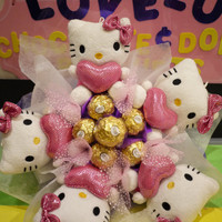 Hello Kitty Plush doll flower bouquet with Ferrero Rocher chocolates. Great for japanese cartoon fans!