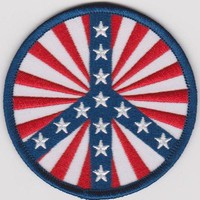 Peace Sign Iron-On Patch Round Stars And Stripes