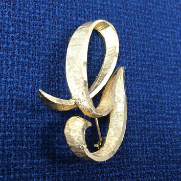 Signed MAMSELLE - Gold Tone Brooch - Letter G Pin - Etched Gold Tone - Vintage Jewelry - Letter G Jewelry - Vintage 1960's - Brushed Gold