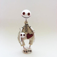 Halloween  Doll - Skeleton Doll - Button Eyed Doll - Made To Order