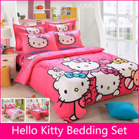 Brand Logo Hello Kitty Bedding Set Children Bed Sheets Hello Kitty Duvet Cover Bed Sheet Pillowcase King/Queen/Twin/Full 4Pcs