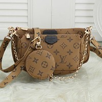 LV classic old-fashioned checkerboard mahjong bag shoulder bag three-piece set brown
