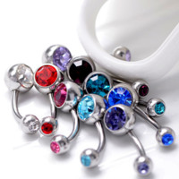 5 Pc. Mix Lot Crystal Double Gem Belly Button Ring 14G