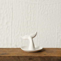 White Whale Tail Jewelry Ring Holder