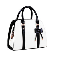 New Fashion Handbag Black Bow Bag PU Leather Shoulder Bowknot Bag for Female Candy Color Bags Women Tote Bag Clutch 9 Colors
