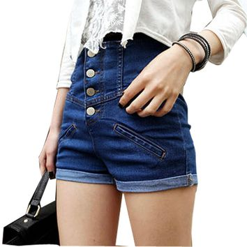 Allegra K Lady Button Closure High Rise Fake Pocket Front Shorts Jeans Blue