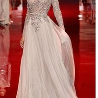 2014 Sexy Attractive Applique Flower Chiffon A line Backless Elie Saab Long Sleeve Formal Evening Dresses Prom Gown-in Prom Dresses from Apparel & Accessories on Aliexpress.com   Alibaba Group