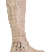 Faux Leather Tall Ruched Riding Boot with Buckled Straps