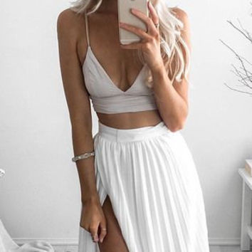 White Spaghetti Straps Two Piece Prom Dresses