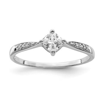 Sterling Silver Princess Dia Square CZ Promise Ring
